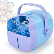 1byone Bubble Machine, Automatic Bubble Blower for Kids, Powered by Plug-in or Batteries, Outdoor or Indoor Use, Two Bubbles Blowing Speed Levels (2020)