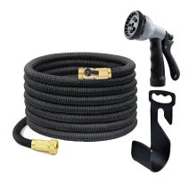Kamlif Expanding Garden Hose with Hanger, Expandable Garden Hoses With Spray Nozzle,Strongest TPS,Solid Brass Connector Fitting (3/4 Inch By 50 Feet,Black)