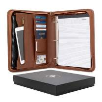 Custom, Engraved Forevermore Portfolio with Zippered Closure, Removable 3 Ring Binder & Bonus Letter Size Writing Pad/Interview & Resume Document Organizer/Notebook & Business Card Holder, Brown