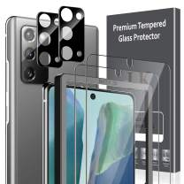 4 Pack LK 2 Pack Screen Protector + 2 Pack Camera Lens Protector Compatible with Samsung Galaxy Note 20, NOT for Galaxy Note 20 Ultra, Tempered Glass, Easy Frame Installation, HD Ultra-Thin
