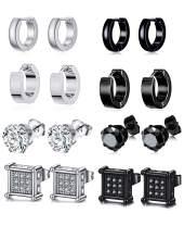 Ofeiyaa 8 Pairs Stainless Steel CZ Stud Earrings For Women Men Huggie Hoop Earrings Ear Piercing Set Black Silver Tone