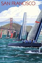 San Francisco, California - Sailboat Race (12x18 Art Print, Wall Decor Travel Poster)