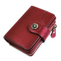 HOMPO Women's Small Wallets RFID Blocking Leather Wallet With Zipper Coin Pocket Bifold Wallet Mini Purse with ID Window