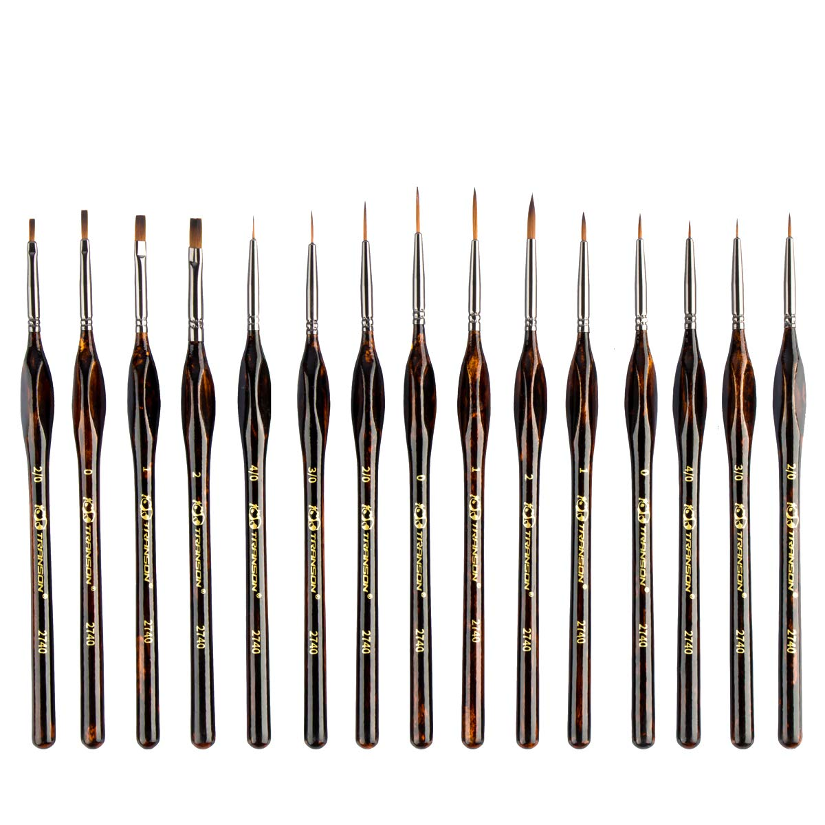 Transon Artist Detail Paint Brushes with Case 15pces for Model Miniature Painting