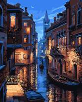 "Paint by Numbers DIY Acrylic Painting Kit for Kids & Adults 16"" x 20""Venice Night Pattern with 3 Brushes & Bright Colors"