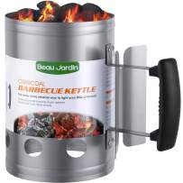 """BEAU JARDIN Charcoal Chimney Starter 11""""X7"""" Grill Barbecue BBQ Galvanized Steel Chimney Lighter Basket Outdoor Cooking Quick Rapid Fire Briquette Starters Can Canister for Grilling Camping Accessories"""