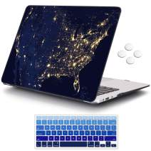 iCasso MacBook Air 13 inch Case (Release 2010-2017 Older Version), Plastic Pattern Hard Shell Protective Case & Keyboard Cover Only Compatible with MacBook Air 13 Inch Model A1369/A1466 - US Map
