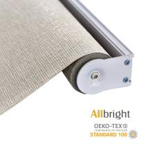 ALLBRIGHT Thermal Insulated Fabric 100% Blackout UV Protection Rialto Emboss Cordless Roller Shades for Windows, Easy to Install, Light Brown, 23''W x 72''H