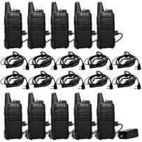 Retevis RT22 Rechargeable Walkie Talkies UHF 16 CH VOX Emergency Channel Lock Two Way Radio 2 Pin Earpiece Headset Mic Li-on Battery Included(10 Pack)