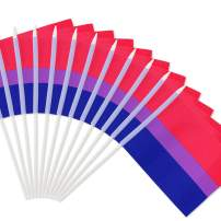 """Anley Bisexual Pride Stick Flag,Bi Pride 5x8 inches Handheld Mini Flag with 12"""" White Solid Pole - Vivid Color and Fade Resistant - 5 x 8 inch Hand Held Stick Flags with Spear Top (1 Dozen)"""