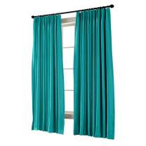"""TWOPAGES Pinch Pleated Curtain Turquoise Solid Thermal Insulated Blackout Drape, 50"""" W x 84"""" L for Traverse Rod and Track (1 Panel)"""