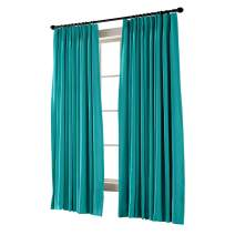 """TWOPAGES Pinch Pleated Curtain Turquoise Solid Thermal Insulated Blackout Drape, 50"""" W x 102"""" L for Traverse Rod and Track (1 Panel)"""