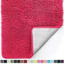 Gorilla Grip Original Luxury Chenille Bathroom Rug Mat, 60x24, Extra Soft and Absorbent Shaggy Rugs, Machine Wash Dry, Perfect Plush Carpet Mats for Tub, Shower, and Bath Room, Hot Pink
