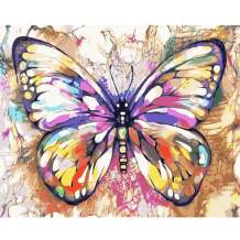 WANTKA Paint by Numbers for Adults, DIY Butterfly Oil Painting by Numbers for Adults Beginner to Advanced & Kids with Paintbrushes Canvas Oil Painting Kit and Acrylic Pigment- 18 x 22 inch