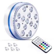 2021 Newest Waterproof Submersible LED Lights with Remote,Upgraded Pool Lights for Inground Pool, Underwater Lights with 4 Magnets and 4 Suction Cups Shower Lights for Pool Pond Bathtub Hot Tub Party