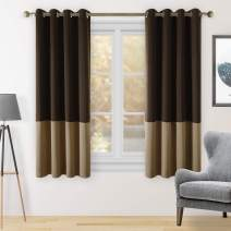 HOMEIDEAS 2 Panels Color Block Curtains Chocolate/Tan Blackout Curtains, 52 X 63 Inch Brown Room Darkening Curtains for Bedroom, Thermal Insulated Grommet Window Curtains for Living Room/Kitchen