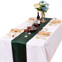 LOVWY 12 x 108 Inches Pack of 10 PCS Satin Table Runners for Wedding Party Engagement Event Birthday Graduation Banquet Decoration (Colors Optional) (Blackish Green)