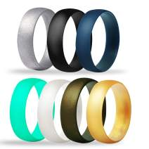 Tuhaoge Soft Silicone Wedding Ring for Men and Women 7 Packs Slim Safe and Comfortable Silicone Rings Wedding Bands