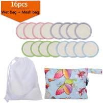 16Pcs Reusable Makeup Remover Pads with 2 EXTRA Bags(Laundry and Storage Bag), Bamboo Organic Rounds for Face, Super Soft and Absorption Wash Cloth Pads(Colorful Edge)