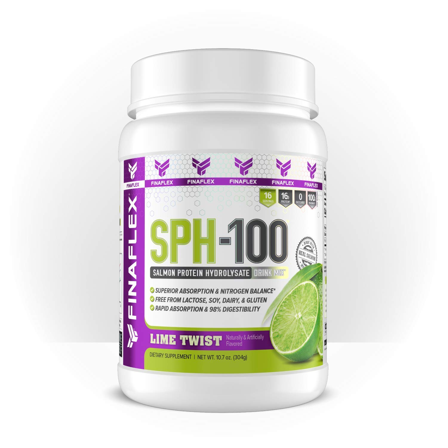 SPH-100, Salmon Protein Hydrolysate, 100% Norwegian Salmon, 16g Protein, 98% Digestibility, Sugar Free, Dairy Free, Soy Free, Lactose Free, Cholesterol Free, Sodium Free, 16 Svgs