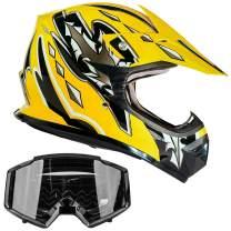 Typhoon Youth Off Road Helmet & Goggles DOT Motocross ATV Dirt Bike MX Motorcycle Yellow Black, S Small