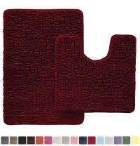 Gorilla Grip Original Shaggy Chenille 2 Piece Area Rug Set Includes Oval U-Shape Contoured Mat for Toilet and 30x20 Bathroom Rugs, Machine Wash Dry Mats, Plush Rugs for Shower and Bath Room, Burgundy