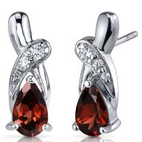 Peora Garnet Earrings Sterling Silver 2.00 Carats Pear Shape CZ Accent