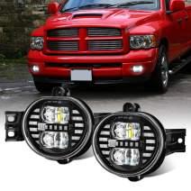 SPL Fog Lights Lamps Replacement Compatible with Dodge Ram 1500 2002-2008 2500 3500 2003-2009, Durango 2004 2005 2006 Pickup Truck (Black Pair)