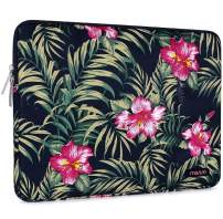 MOSISO Laptop Sleeve Compatible with 13-13.3 inch MacBook Pro, MacBook Air, Notebook Computer, Polyester Vertical Pattern Bag with Pocket, Hibiscus Navy Blue Base