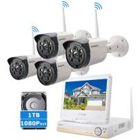 "ONWOTE All-in-one Wireless WiFi Security Camera System with 10.1"" LCD Monitor and 1TB Hard Drive, 1080P NVR, (4) Outdoor 720P IP Surveillance Cameras for Home, 80ft Night Vision, Remote Access"