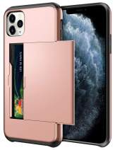 SAMONPOW Wallet Case for iPhone 11 Pro Case with Card Holder Dual Layer Hybrid Shell Heavy Duty Protection Shockproof Anti Scratch Soft Rubber Bumper Cover Case for iPhone 11 Pro 5.8 inch Rose Gold