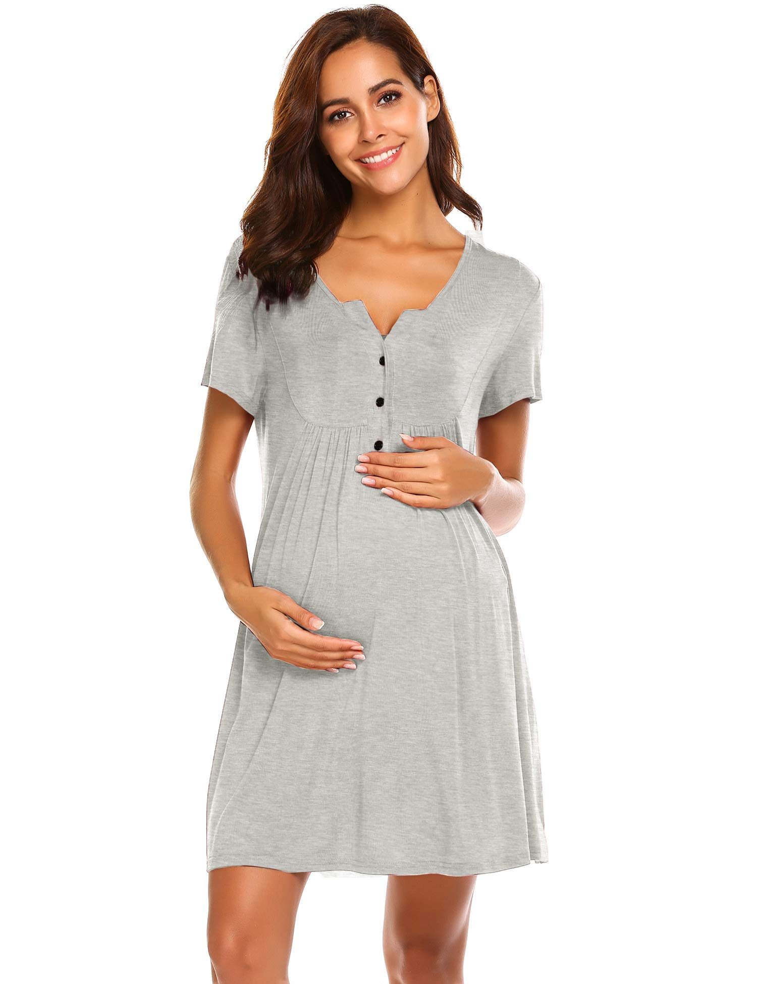 Ekouaer Labor and Delivery Gown, Nursing Nightgown,Maternity Nightgowns for Hospital Short BreastfeedingNightgown S-XXL