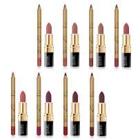 CCbeauty Lip Liner and Lipstick Set of 8 Matte Nude Colors Waterproof Long Lasting Makeup Lipstick Lip Liner Pencil for Women