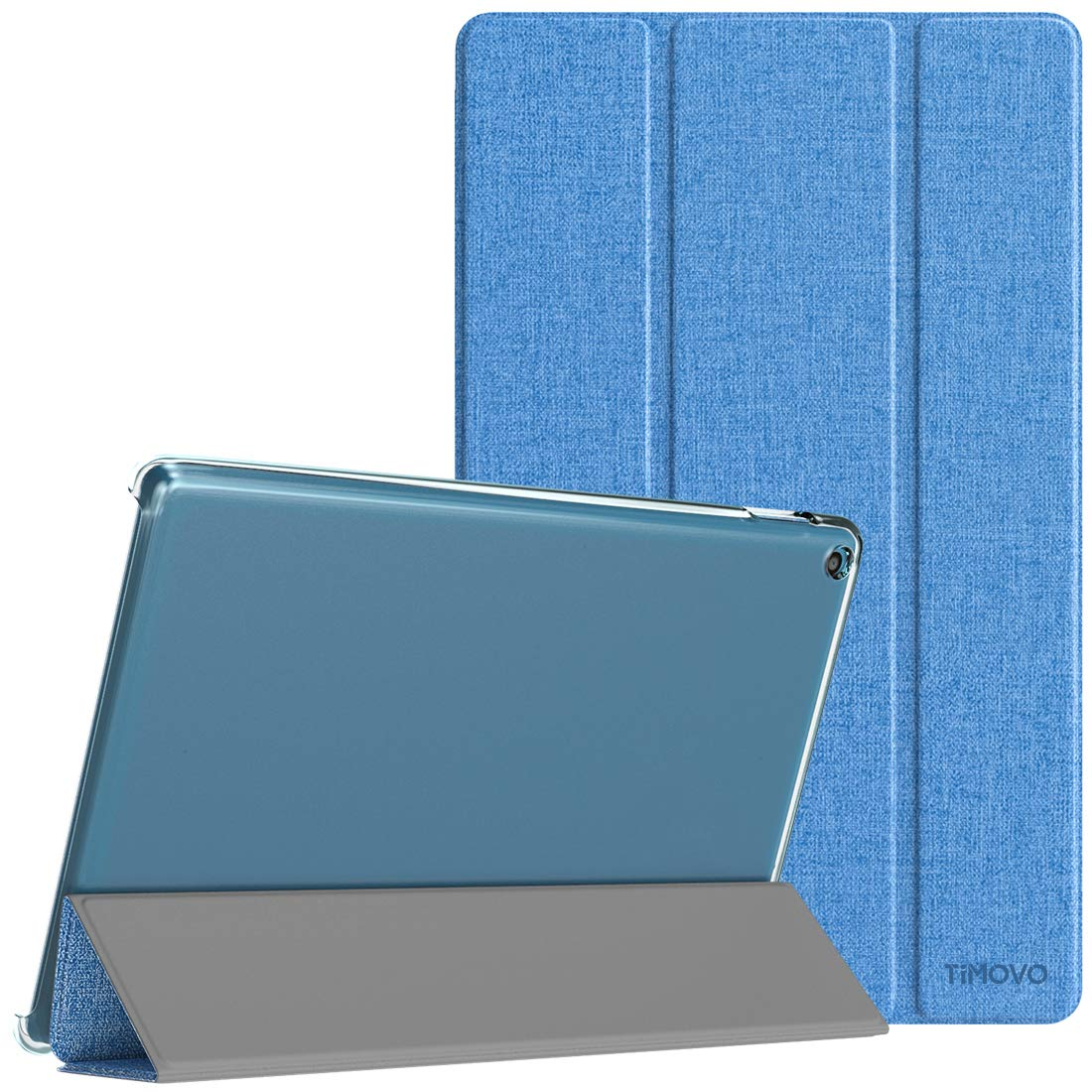 TiMOVO Case for All-New Amazon Fire HD 10 Tablet (9th Generation, 2019 Release), Lightweight Slim Tri-fold Stand Cover Translucent Case with Auto Wake/Sleep Fit Fire HD 10 Tablet - Twilight Blue
