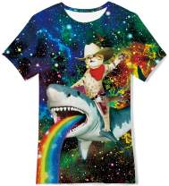 RAISEVERN Kids Girls Boys Summer T Shirt Stylish Cat Riding Shark Cute Animal Printing Rainbow Pattern Hipster Tops Funny Blouse Tees Softy Smooth Easy-Drying Activeshirts for Primary School Size 6-8