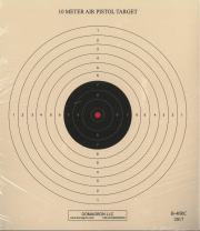 DOMAGRON 10 Meter (33 Ft.) Air Pistol Single Bullseye Red Center Variant of The Official NRA Target - B-40/1