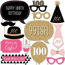 Chic 100th Birthday - Pink, Black and Gold - Birthday Party Photo Booth Props Kit - 20 Count