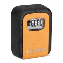 Key Safe Storage Lock Box - Wall Mounted Key Lock Box with 4 Digit Combination Zinc Alloy Key Hider Wall Safe to Hide a Key Outside,6 Key Capacity (Orange)
