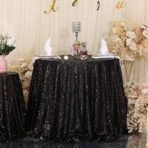 "Eternal Beauty Sequin Tablecloth,Sparkly Table Cloth for Wedding Party, Christmas Decorations Round Glitter Tablecloth (48"", Black)"