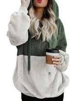 Ray-JrMALL Women Long Sleeve Fleece Pullover Hoodie 1/4 Zip Patchwork Sherpa Sweatshirt Fuzzy Casual Tops Outwear