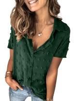 Azokoe Women V Neck Short Sleeve Button Down Collar Chiffon Blouses Shirts