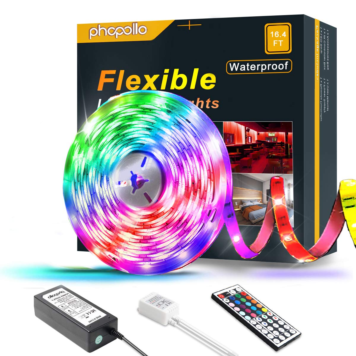 PHOPOLLO LED Strip Lights, 16.4ft RGB Color Changing 5050 150LEDs Waterproof Flexible LED Tape Light Kit with 44 Key IR Remote Controller and 12V Power Supply for Room, Bedroom and Xmas