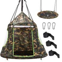 Zupapa Hanging Tree Swing, 2 in 1 Detachable Saucer Tree Swing Play House Tent for Kids, Max Capacity 330 LBS for Indoor Outdoor Use, Tree Straps Included