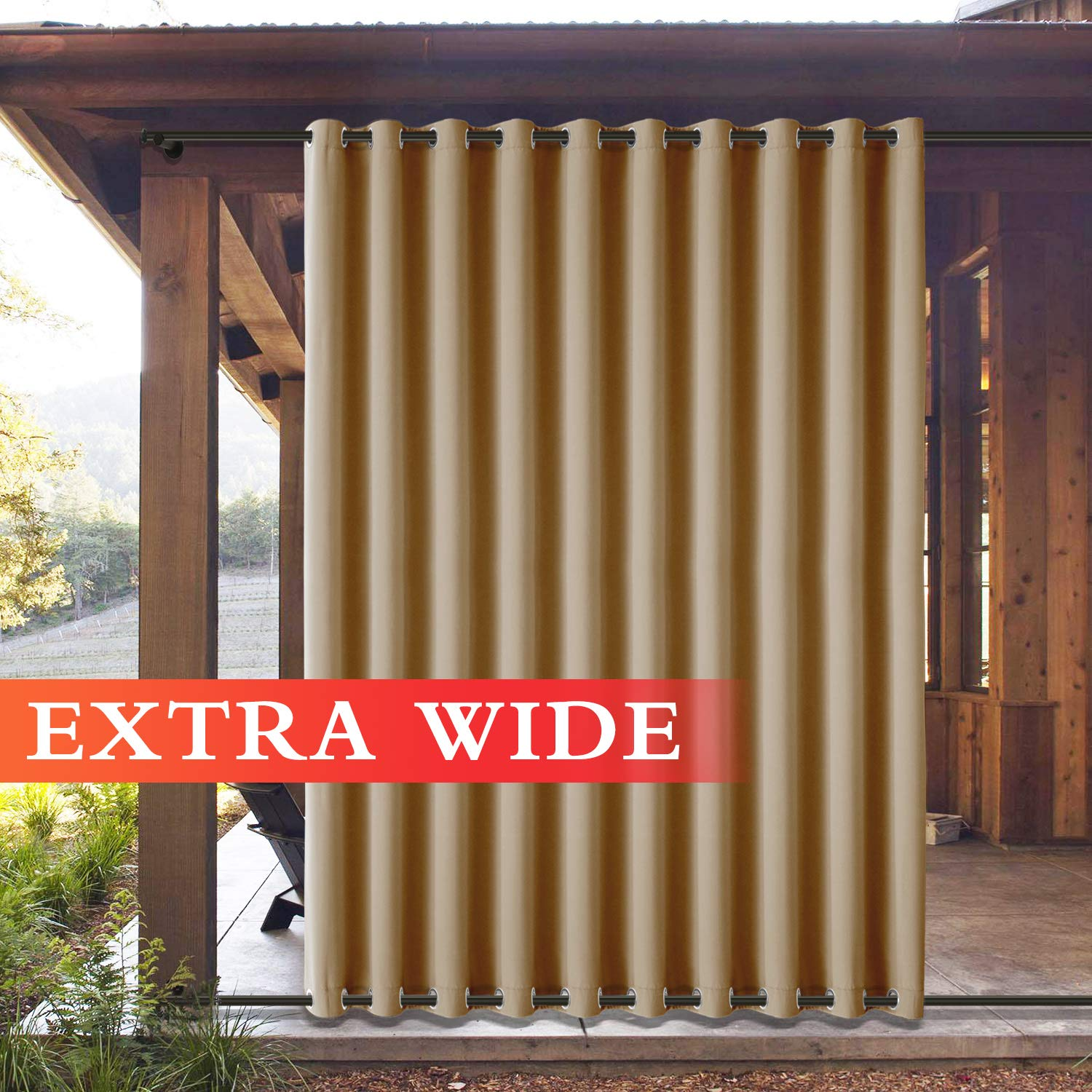 Frelement Outside Drapes Panels for Patio Cabana Indoor/Outdoor Decoration Water Repellent Heat Insulated Outdoor Curtains Rustproof Grommet Top and Bottom, Wheat 100W x 102L (1 Panel)