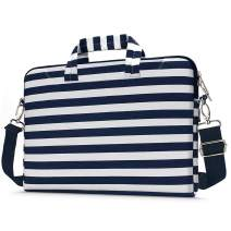 MOSISO Laptop Shoulder Bag Compatible with 13-13.3 inch MacBook Pro, MacBook Air, Notebook Computer, Pattern Briefcase Sleeve with Trolley Belt, Navy Blue Stripe