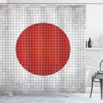 "Ambesonne Abstract Shower Curtain, Mosaic National Flag of Japan Grunge Fractal Background Modern Graphic Print, Cloth Fabric Bathroom Decor Set with Hooks, 70"" Long, Pale Grey"