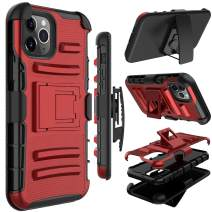 Yunerz Compatible iPhone 11 Pro Max Case, Yunerz Holster Heavy Duty Shockproof Full-Body Protective Hybrid Case Cover with Swivel Belt Clip and Kickstand for iPhone 11 Pro Max 2019 6.5inch(Red)