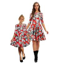 PIZOFF Mommy and Me Dress Christmas 3D Digital Print Family Matching Outfits Half Sleeve Holiday Party Dresses