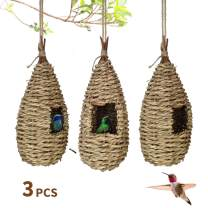 Gute Hummingbird House, Grass Hand Woven Birdhouses for Outdoors Hanging, Natural Bird Hut for Outside, Bird Houses for Audubon Finch Canary Chickadee - Set of 3 (Large)