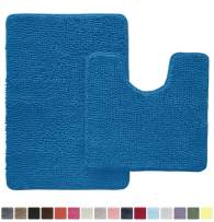 Gorilla Grip Original Shaggy Chenille 2 Piece Area Rug Set Includes Oval U-Shape Contoured Mat for Toilet and 30x20 Bathroom Rugs, Machine Wash Dry, Plush Mats for Tub, Shower and Bathroom, Blue